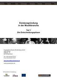 Existenzgründung in der Musikbranche Teil 1 Die ...
