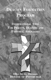 DEACON FORMATION PROGRAM - Diocese of Pittsburgh