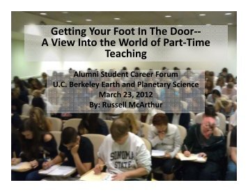 Getting Your Foot In The Door - Earth & Planetary Science, UC ...