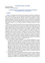 Conseils pour la recherche en sociologie politique - ReprésentationS
