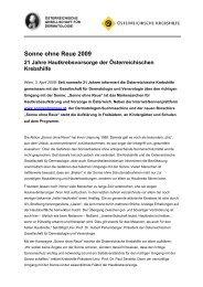Sonne ohne Reue 2009 - Krebshilfe Oberösterreich