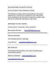 rpcs website vendor list - Roland Park Country School