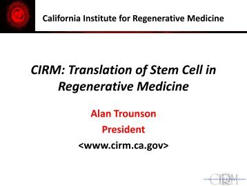 Translation of Stem Cell in Regenerative Medicine - Qf-research ...