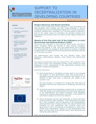 support to decentralization in developing countries - UCLG