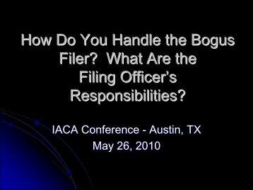 Bogus Filings Presentation Material - IACA