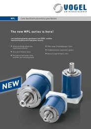 Low backlash planetary gearboxes MPL - Vogel Antriebstechnik