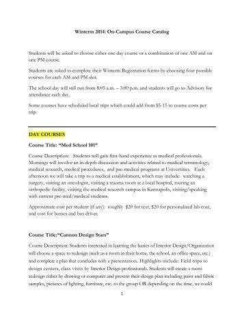 Winterm 2014: On-Campus Course Catalog ... - Cannon School