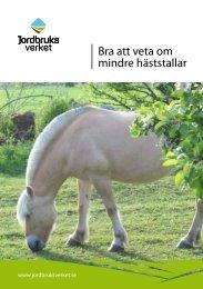 Bra att veta om mindre häststallar - bild - Jordbruksverket