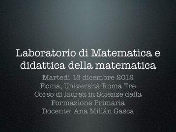 Laboratorio di Matematica e didattica della matematica