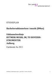(BMus) Uddannelseslinje RYTMISK MUSIK, IM, TO HOVEDIN
