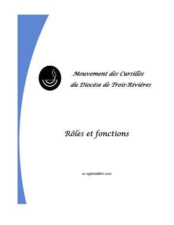 Rôles et fonctions - Mouvement des Cursillos Francophones