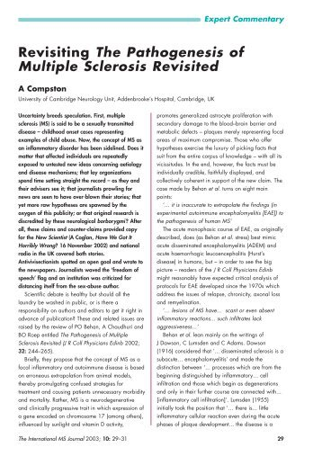 Revisiting The Pathogenesis of Multiple Sclerosis Revisited