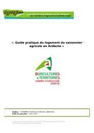 « Guide pratique du logement du saisonnier agricole en Ardèche »