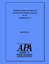 Progress Report on Selected Systems Development Projects in the ...