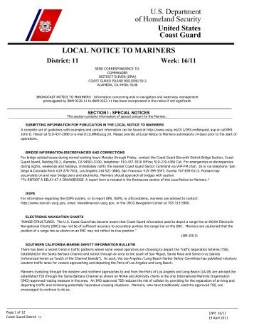 Local Notice To Mariners Week #16 - Dana Point Boaters Association