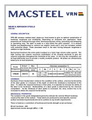 Wear & Abrasion Steels - VRN 400 - Macsteel