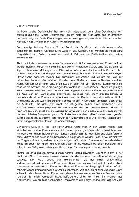Brief an Waldemar Paulsen - Waldemar Paulsen – Meine Davidwache
