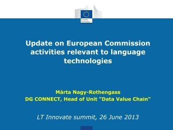 Update on European Commission activities relevant to ... - LT-Innovate
