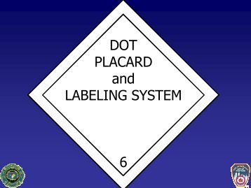 DOT PLACARD and LABELING SYSTEM 6