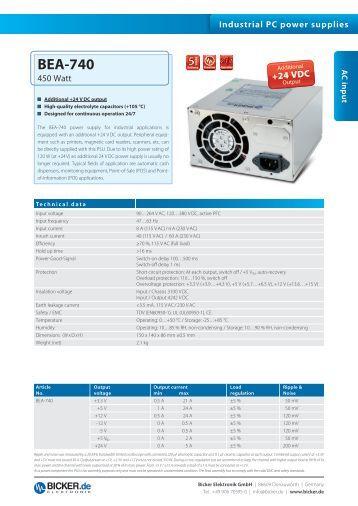 Data Sheet: BEA-740 englisch (pdf, 0.8 MB - Bicker Elektronik