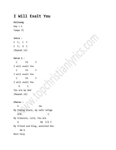 I Will Exalt You chords – Hillsong - Christian Lyrics