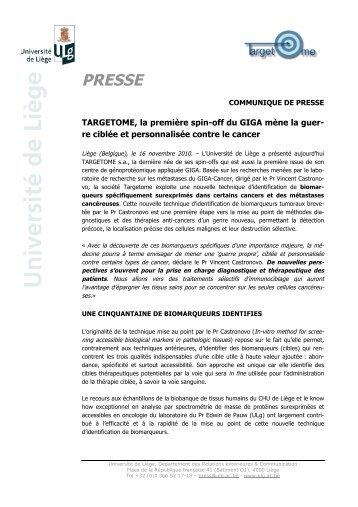 CP Targetome - Interface Entreprises-Université - Université de Liège