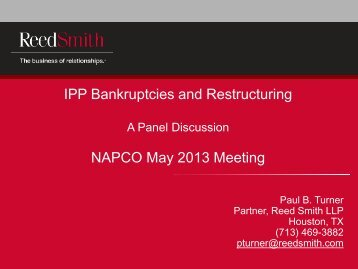 IPP Bankruptcies and Restructuring NAPCO May 2013 Meeting