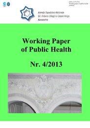 Working Paper of Public Health Nr. 4/2013 - Azienda Ospedaliera ...