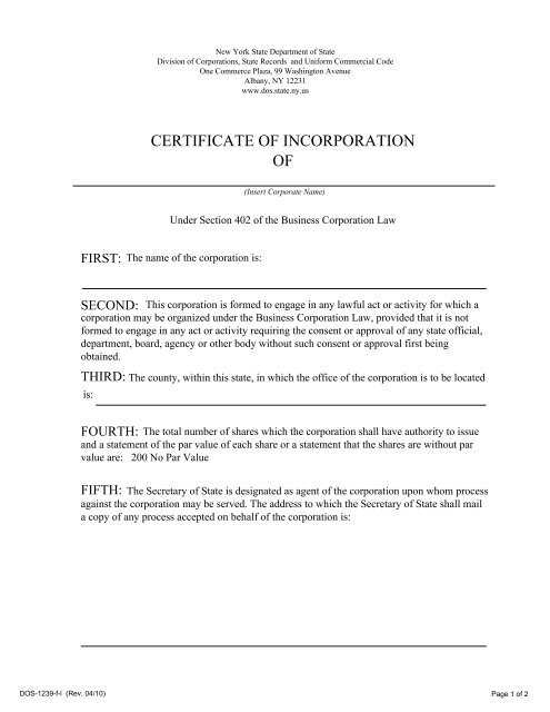 CERTIFICATE OF INCORPORATION OF - eMinutes