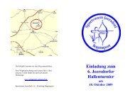 Einladung zum 6. Jeersdorfer Hallenturnier am 18. Oktober 2009