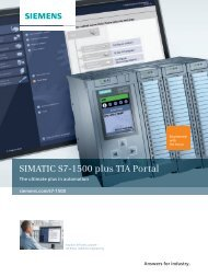 SIMATIC S7-1500 plus TIA Portal - Siemens Industry, Inc.