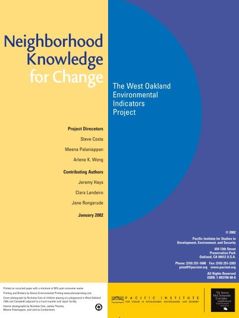 Neighborhood Knowledge for Change - Pacific Institute
