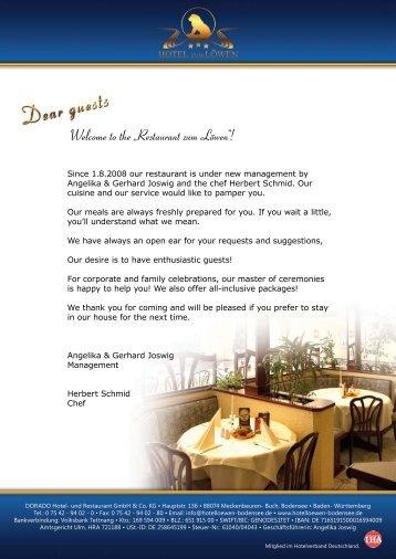 """Welcome to the """"Restaurant zum Löwen""""! - Hotel Bodensee"""