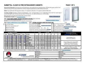 SUBMITTAL: CLEAR VU FIRE EXTINGUISHER CABINETS PAGE 1 ...