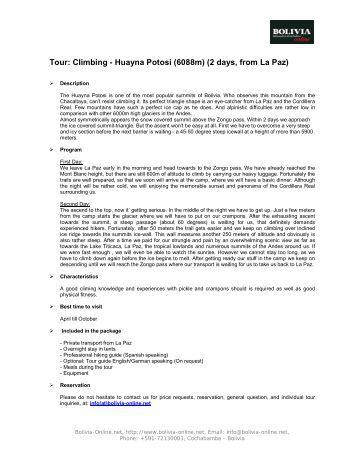 Tour description (PDF) - Bolivia Online