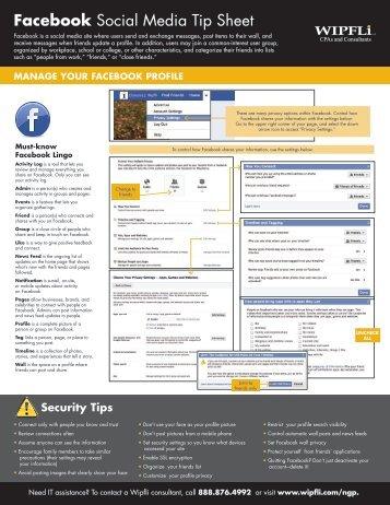 Facebook Social Media Tip Sheet - Wipfli
