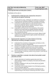 Unit Title: International Marketing Unit code: IMKT Level: 6 Learning ...