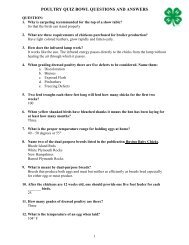 POULTRY QUIZ BOWL QUESTIONS AND ANSWERS