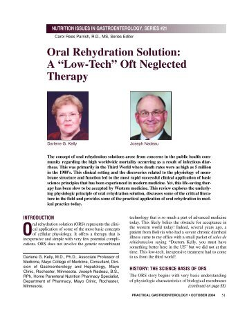 """Oral Rehydration Solution: A """"Low-Tech"""" Oft Neglected Therapy"""