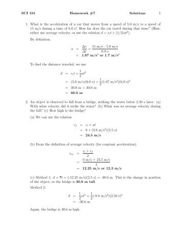 SCI 101 Homework #7 Solutions 1 1. What is the acceleration of a ...