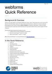 'webforms' quick reference guide