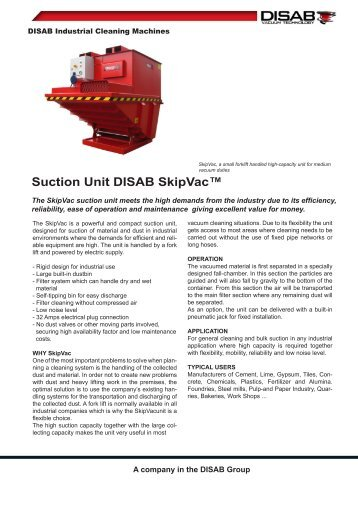 Suction Unit DISAB SkipVac™ - Disab.com
