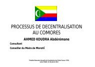 PROCESSUS DE DECENTRALISATION AU COMORES