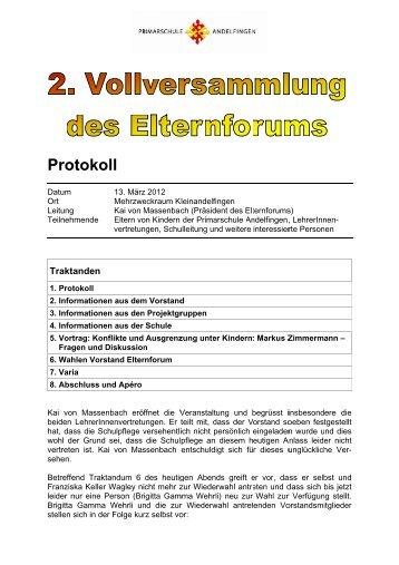 Protokoll der Vollversammlung vom 13. März 2012 - Primarschule ...
