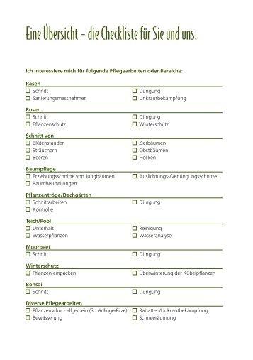 Anmelde-Checkliste - ERNI Gartenbau