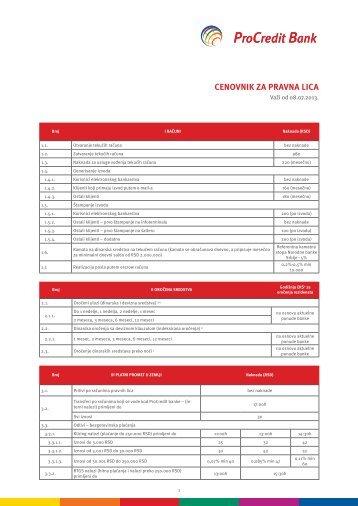Cenovnik usluga za preduzetnike i pravna lica - ProCredit Bank