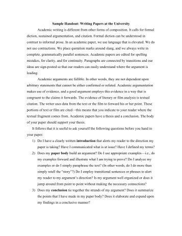academic papers sample