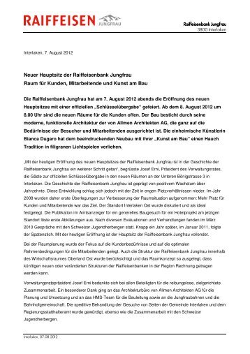 Pressemitteilung - von Allmen Architekten AG