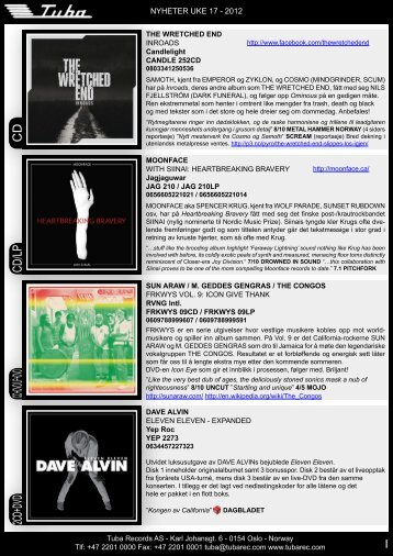 Cd/LP Cd+dVd/LP+dVd C d 2Cd+dVd - Tuba Records