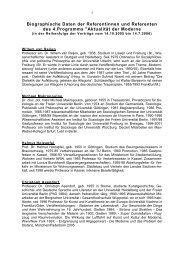 Biografische Daten der Referenten - Architektursalon Kassel
